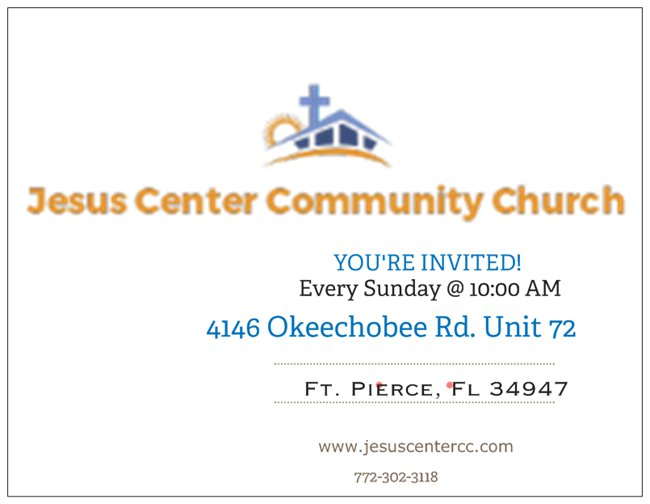 Invitation Card Jesus Center